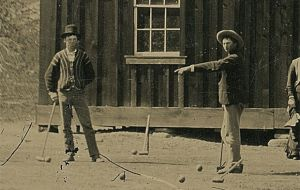 Enlarged area from the photo showing Billy the Kid at left