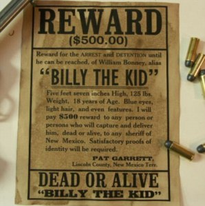 The reward poster for Billy the Kid (Photo Credit: www.dailymail.co.uk)