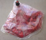 The contents of the bag after a few minutes of pummeling, ready to be drained.